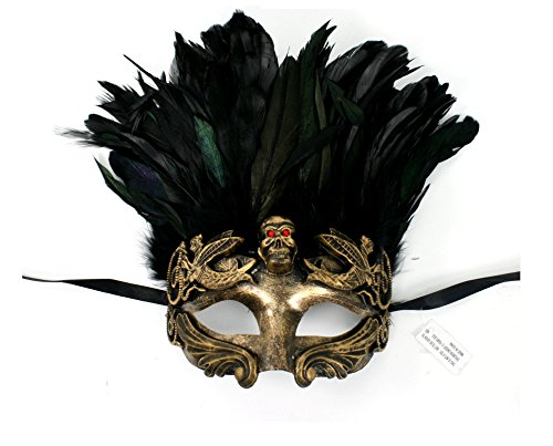 [Men's Warrior Skull Masquerade Mask with Feathers (Gold)] (Greek Headdress Costume)