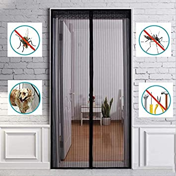 Amazon Com Zylhc Magnetic Screen Door Suitable For Doors Up To 39 X 90 With Magnet Mute Mesh Curtains And Full Frame Fit Mosquito Screens Black W100h230cm 3990inch Kitchen Dining