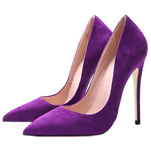 Jushee Women's Closed Pointed Toe Stiletto High Heels Dress Pumps Purple Suede guZJSstiPo