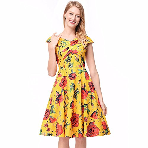 Sleeveless Printing Yellow Flower SJMM Dress 6EWdYfpwq