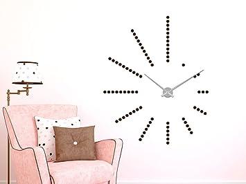 Pared Reloj De Pared Adhesivo decorativo para pared con reloj de XXL para salón puntos, rojo claro, reloj plateado: Amazon.es: Hogar