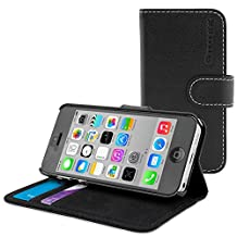 iPhone 5C Case, Snugg Black Leather Flip Case [Card Slots] Executive Apple iPhone 5C Wallet Case Cover and Stand [Lifetime Guarantee] - Legacy Series