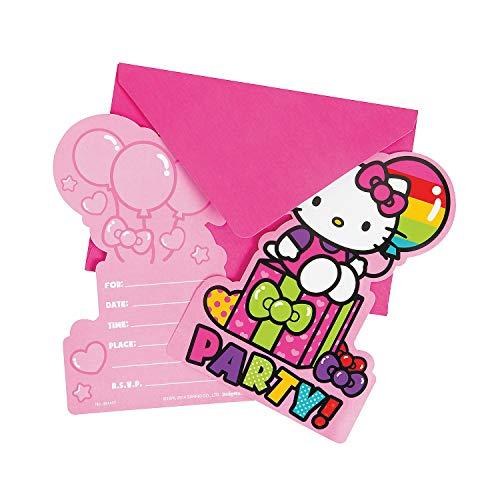 Fun Express - Hello Kitty Rainbow Postcard Invites for Birthday - Party Supplies - Licensed Tableware - Licensed Invitations - Birthday - 8 Pieces