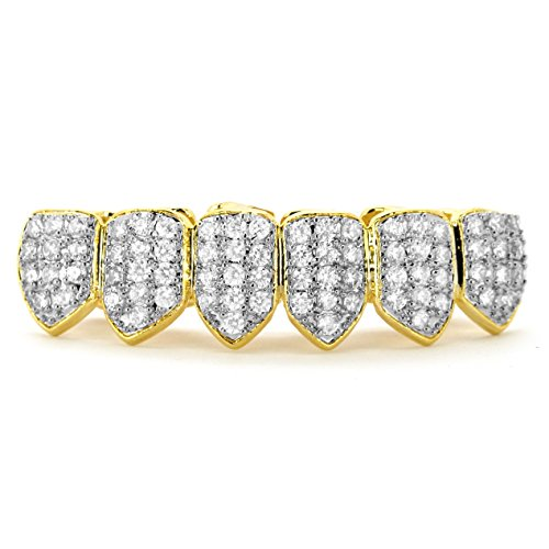 L&L Nation 18K Gold & Silver Plated CZ Top & Bottom GRILLZ Mouth Teeth Grills