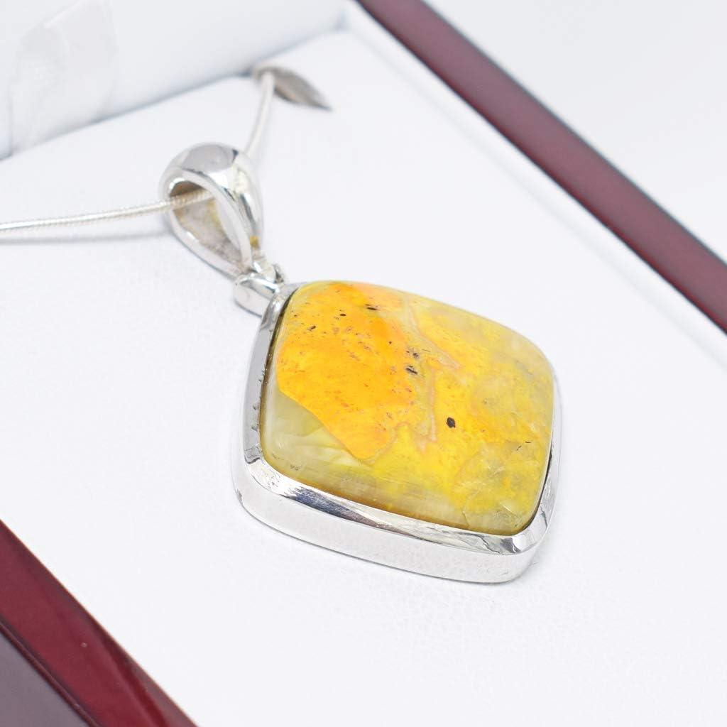 teardrop pendant,jewelry P-359 Yellow stone Pendant,bumblebee pendant Sterling Silver Pendant Natural Bumble bee pendant Jasper pendant