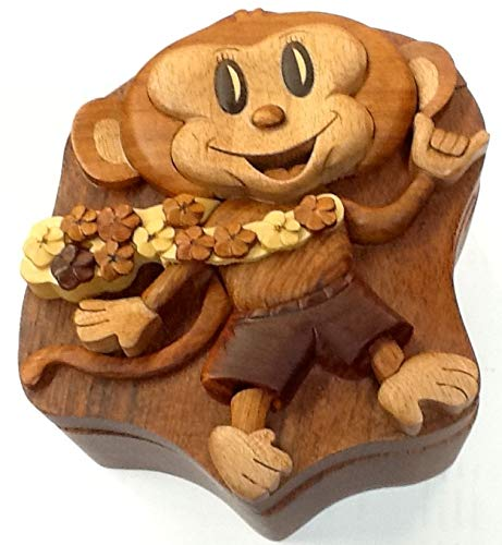 Tiki Monkey Wooden Multi Color Wood Puzzle Jewelry Box by Tiki