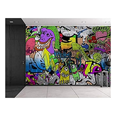 Astonishing Portrait, Made With Love, Colorful Graffiti Large Wall Mural Removable Peel and Stick Wallpaper