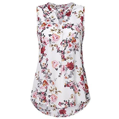 (Emimarol Women Summer Soild Sleeveless Flower Print V Neck Daily Vest Tank Tops Blouse)