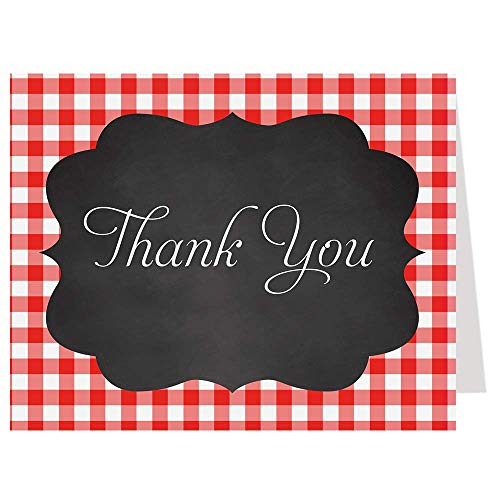 Thank You Cards Gingham Plaid Bridal Shower Baby Wedding Party Barbeque Chalkboard Red White Black Checkered Thanks Folding Notes I Do BBQ (50 count)
