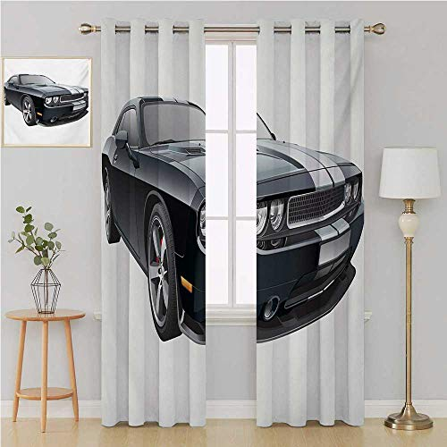 Benmo House Cars Grommet Curtain Waterproof Window Curtain,Black Modern Pony Car with White Racing Stripes Coupe Sports Dragster Print Room Decor for Boys 108 by 108 Inch Black Grey White