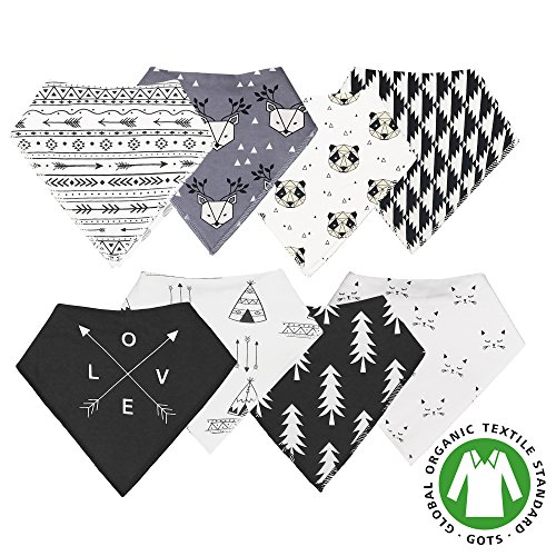 Baby Bandana Teething Bibs that Snap Set of 8 Absorbent Drooling Cotton Adjustable Unisex Geometric Pattern (Black and - Bib Black Cat