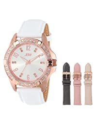 JBW Women's J6278-setC Sophisticated White Leather Watch Set with 3 Additional Straps