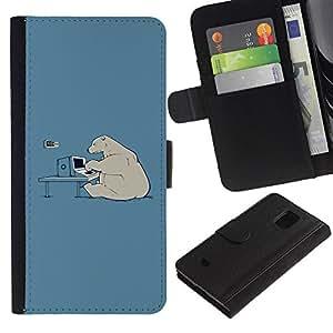 LASTONE PHONE CASE / Lujo Billetera de Cuero Caso del tirón Titular de la tarjeta Flip Carcasa Funda para Samsung Galaxy S5 Mini, SM-G800, NOT S5 REGULAR! / Hacker Polar Bear Funny