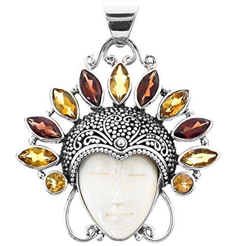 Buffalo Bone Goddess Marquise Garnet Citrine Crown 925 Sterling Silver Pendant, 2