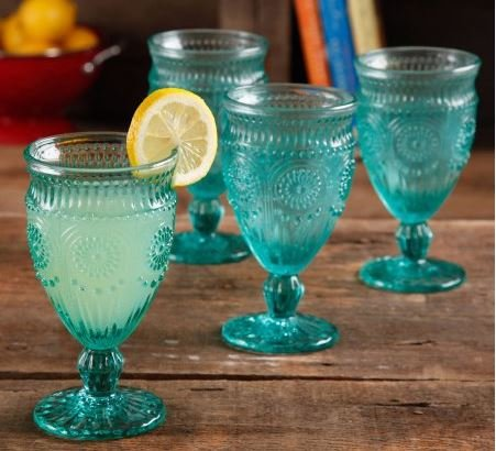 The Pioneer Woman Adeline Embossed 12-Ounce Footed Glass Goblets, Set of 4, Turquoise