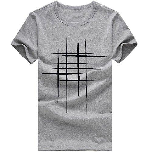 Realdo Mens Casual Short Sleeve T-Shirt Pure Color Print Tee(Grey,X-Large) -