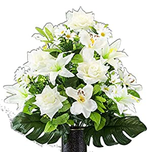 White Orchid with Lily and Rose, featuring the Stay-In-The-Vase Design(C) Flower Holder (MD2185) 70