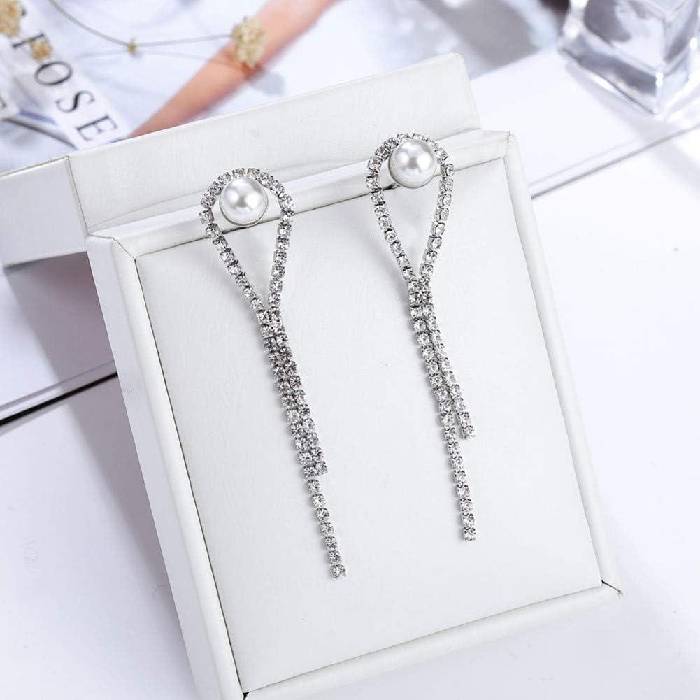 LINLIN Gotas de Agua de Moda Colgantes Pendientes Largos de Perlas/Diamantes de imitación Pendientes Largos Pendientes de joyería para Mujeres