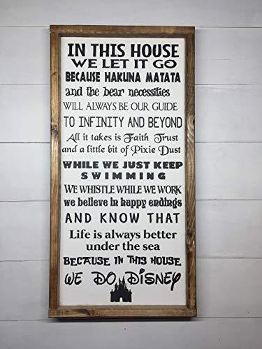 "IN THIS HOUSE WE DO DISNEY   DISNEY FAMILY   DISNEY SIGN   DISNEY DECORATION   12""x24"""