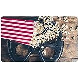 your-fantasia Cinema Concept with Popcorn on Wooden Surface Floor Mat Doormat Non Slip Door Mat 30 x 18