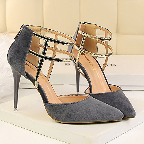 z&dw Estilo sexy show Slim tacones altos tacones ante boca superficial puntiagudos sandalias huecas Gris