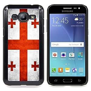 "Qstar Arte & diseño plástico duro Fundas Cover Cubre Hard Case Cover para Samsung Galaxy J2 / J200 (Bandera nacional de la Serie-Georgia"")"
