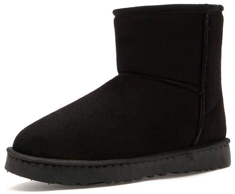 IDIFU Women's Men's Unisex Solid Fleece Lined Flat Winter Boots Ankle High Snow Booties (Black, 9 men D(M) US)