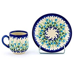 Polish Pottery, Handpainted and Handcrafted Espresso Cup with Saucer 100ml _ Blue Tulips Unique Pattern (U456)