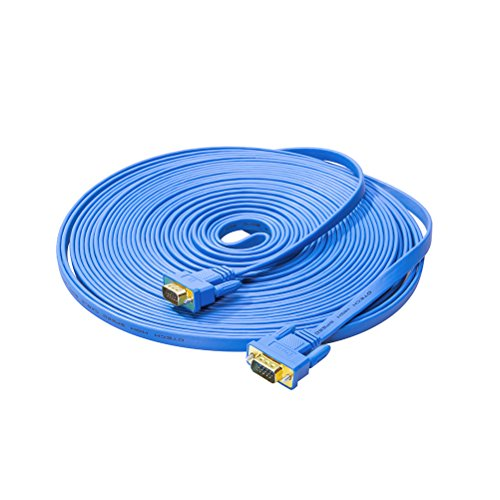 DTECH 10m Ultra Slim Flat Computer Monitor VGA Cable 33 Feet in Blue