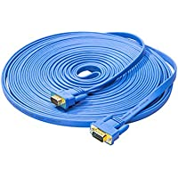 DTECH 10m Ultra Slim Flat Computer Monitor VGA Cable Male to Male Connector Wire - 33 Feet - Blue