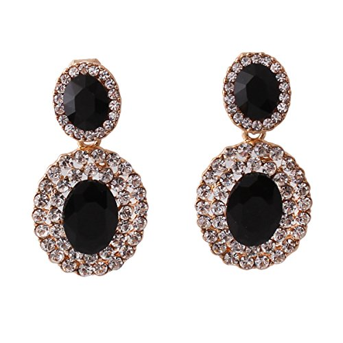 Grace Jun 2017 New Big Rhinestone Crystal Clip on Earrings Without Piercing and Dangle Drop Earrings (Black ear clip) (Clip Drop Rhinestone)