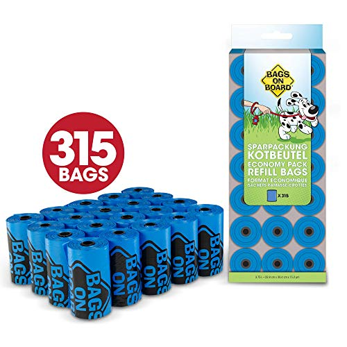 Bags on Board Dog Poop Pick-Up Bags Economy Pack, Blue (Pack of 315)