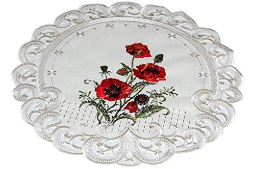 klassische TISCHDECKE rund 40 cm CREME MOHN rot grün Tischdekoration Deckchen Mitteldecke Sommer HERBST (Deckchen rund 40 cm)