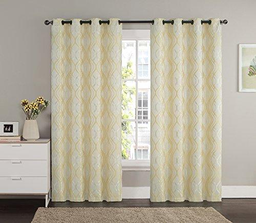 Jacquard Window Curtain Panel: Swirl Design, Grommets, 55″ x 90″ (Gold)