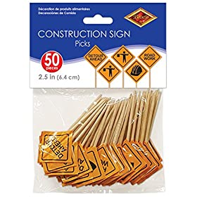 Beistle Construction Signs Picks, 2 1/2-Inch, Oran...