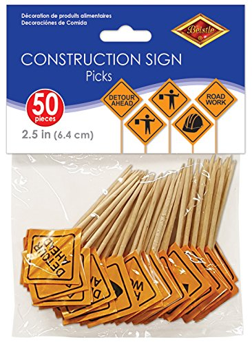 Beistle Construction Signs Picks, 2 1/2-Inch, -