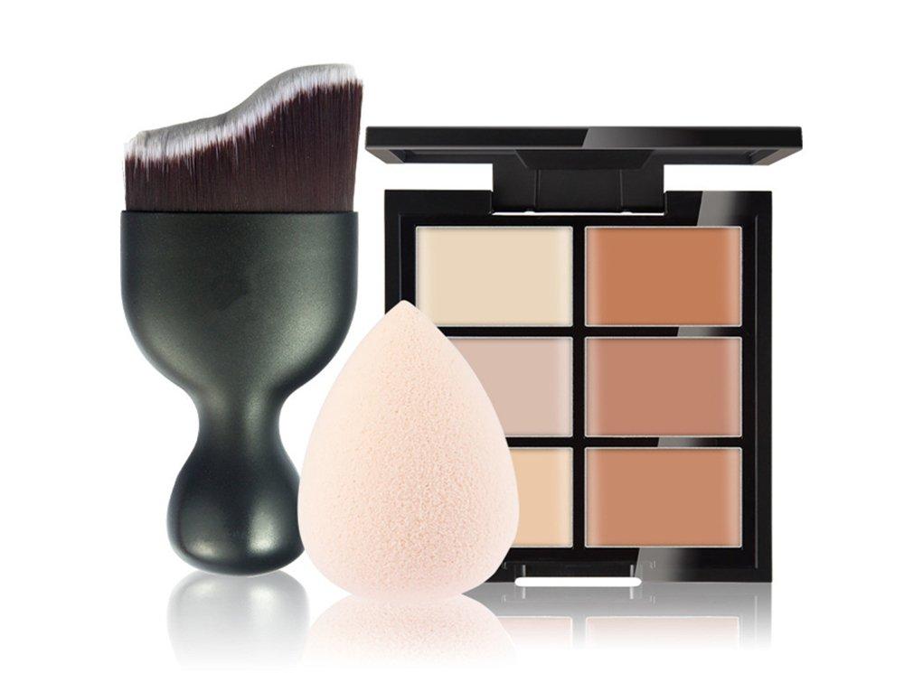 Pure Vie 6 Colors Cosmetics Cream Contour and Highlighting Makeup Kit, Color Correcting Cream Concealer Palette #2 + 1 Pcs Concealer Foundation Makeup Brush + 1 Pcs Latex-Free Makeup Sponge