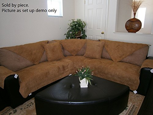 OctoRose Quilted Micro Suede Sectional Sofa Throw Pad Furniture Protector Sold By Piece Rather Than Set (camel, 35x70
