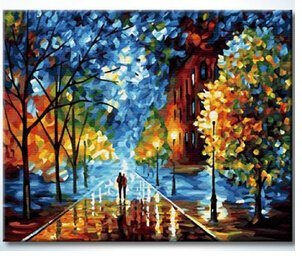 Sunteeny Oil Painting for Beginner ,DIY Paint By Numbers for wall decoration , the Glowing Night,Rain Night,16 by 20 inches