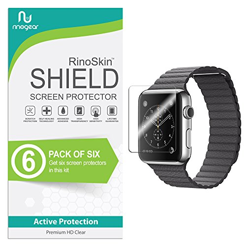 [6-Pack] RinoGear for Apple Watch Screen Protector 42mm (Series 3, 2, 1) [Active Protection] Sport Flexible HD Crystal Clear Anti-Bubble Film