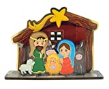Wooden Kiddie Holy Family in Manger Standing Nativity Set, 3 1/2 Inch