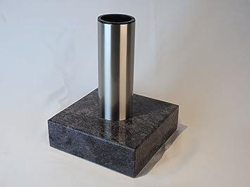 designgrab Grab Jarrón Tubo de acero inoxidable y base de granito de granito de Orion Blue