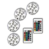 Qicai H LED Submersible Lights RGB Multicolor Battery Operated with Remote Waterproof Mini Light for Aquarium, Vase, Halloween, Wedding, Xmas Party, Festival Decoration Lighting Pond light, Set of 4