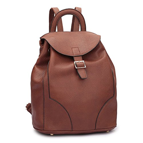 Daypack Backpack Fashion Leather Faux brown College Drawstring Bag Women Casual Shoulder Classic 2716 MKY fRXwzn