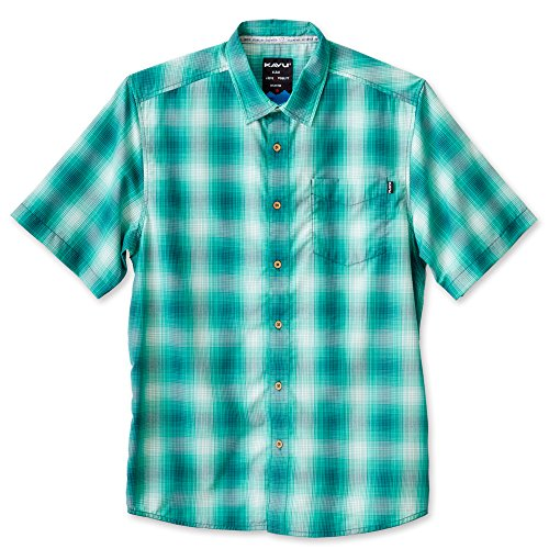 KAVU Men's Duxbury Button Down Shirts, Lagoon, Large