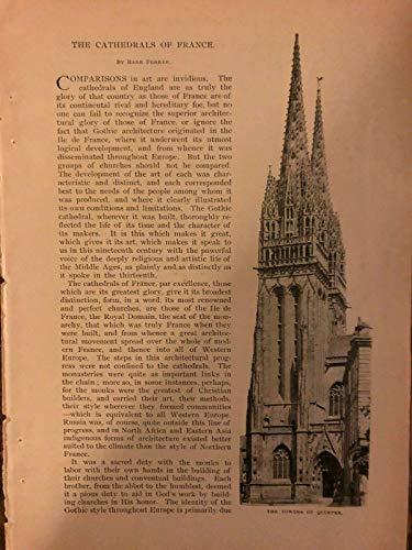 1895 French Cathedrals Quimper Tours Albi Evreux Rouens Amien Chartres