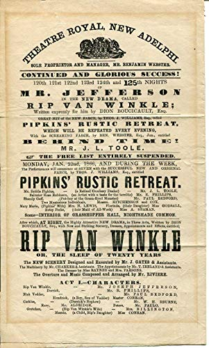 Joseph Jefferson Rip Van Winkle 1866 Theatre Royal New Adelphi Poster Program