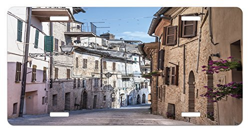 zaeshe3536658 Mediterranean License Plate, Italian Apartments in Aged City Countryside Italy Dreamy Path Destination Photo, High Gloss Aluminum Novelty Plate, 6 X 12 Inches.