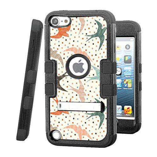iPod touch 5 / 6 Case, CASECREATOR[TM] For Apple iPod touch 5th / 6th GEN () -- TUFF Hybrid Stand Rubber Hard Snap-on Case Black Black-Polka Dot Swallows ()