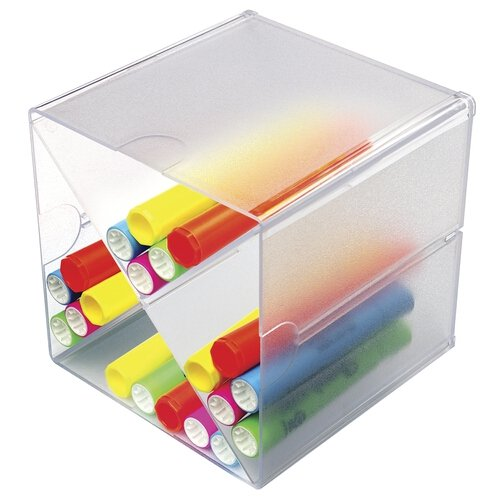 Deflecto Stackable Cube Organizers Cross Divider, Clear, 6 x 6 x 6 Inches (350201) - 6x6x6 Cubes